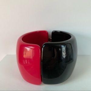 Jewelry - Lucite Color Block Plastic Clamper Bracelet